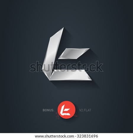 Letter T, Vector silver font. Elegant Template for company logo. Metallic Design element or icon. Pseudo origami style, including flat version. - stock vector