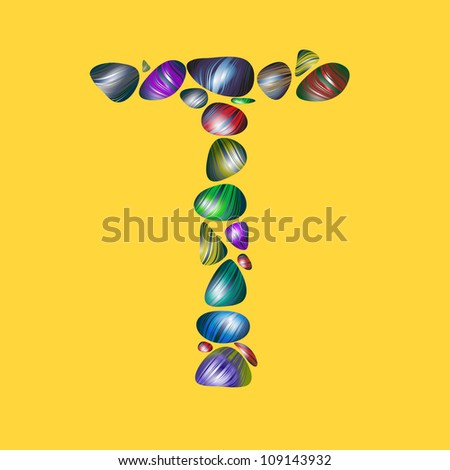 letter T with semiprecious color stones isolated vector ABC book ...