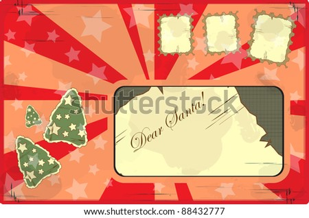 letter to Santa Claus in vintage style - stock vector