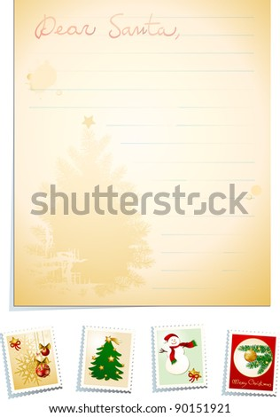 Letter to Santa with stamps, vector - stock vector