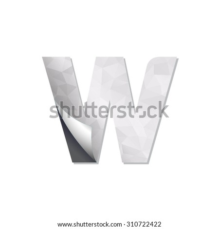 letter triangular paper fold icon logo w