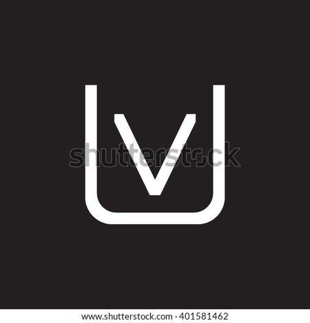 letter U and V monogram square shape logo white black background