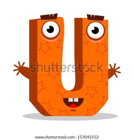 Letter U Monster, vector illustration - stock vector