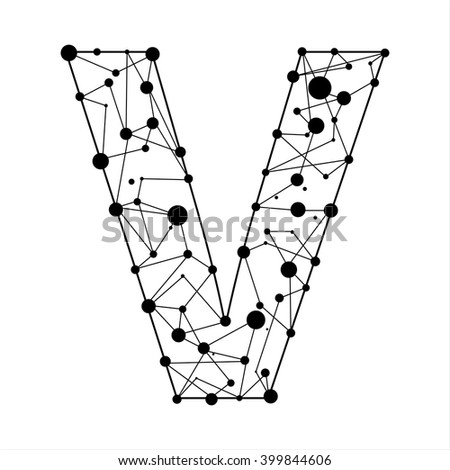 Letter V consisted of dots and lines, English alphabet - stock vector