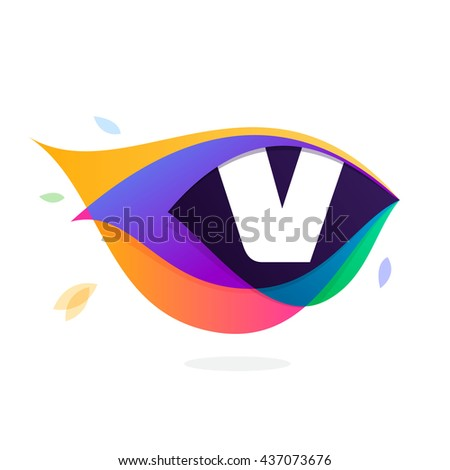 Letter V logo in peacock feather icon. Multicolor vector alphabet letters for app icon, corporate identity, card, labels or posters. - stock vector