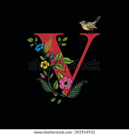 Letter v flowers bird on black stock vector 392954932 shutterstock letter v with flowers and bird on black background vector altavistaventures Images