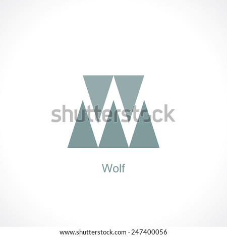 letter w. abstract vector symbol - stock vector