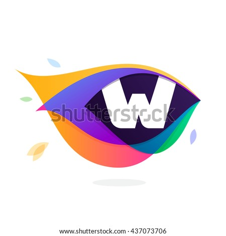 Letter W logo in peacock feather icon. Multicolor vector alphabet letters for app icon, corporate identity, card, labels or posters. - stock vector