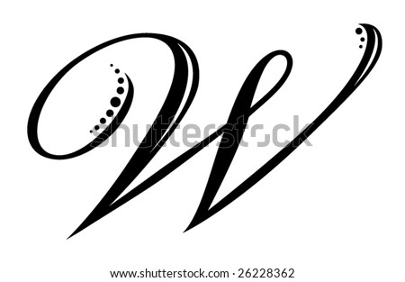Letter W - Script - stock vector