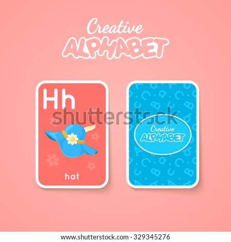 Letter, word and picture. Alphabet double-sided card for children. Colorful vector illustration. - stock vector