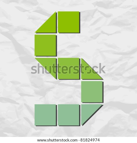 Letter X  from squares and triangles on a paper-background. Vector illustration - stock vector