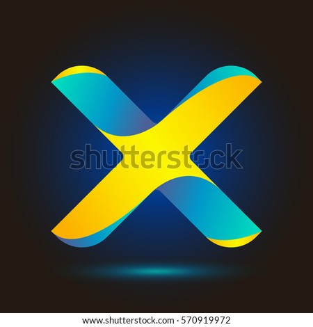 Letter X icon and logo template.  New design typographic. twisted. blue and yellow line