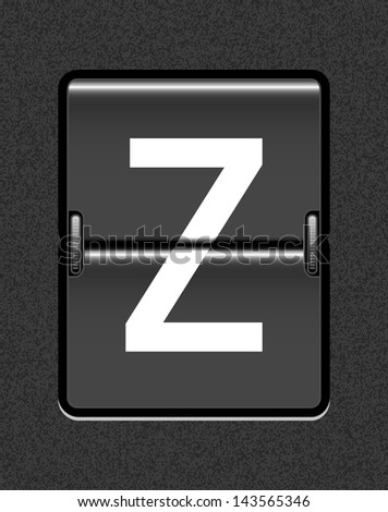 Letter Z on a mechanical timetable - stock vector