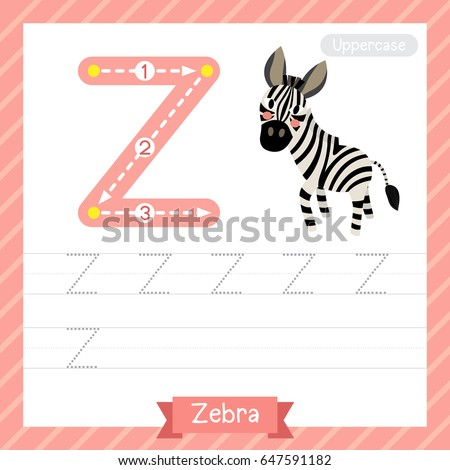 Letter Z Uppercase Tracing Practice Worksheet With Zebra For Kids Learning To Write Vector Illustration