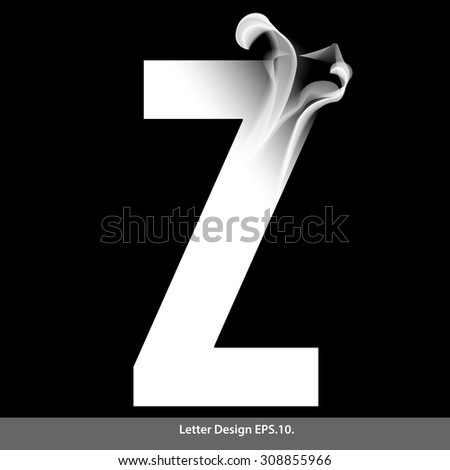 Letter Z with smoke waves.Vector illustration. You can easily change the background color without having to do with character and smoke.