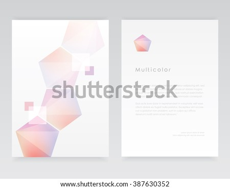 Letterhead template and brochure cover in minimal geometric design with pink and purple polygonal shapes pattern - stock vector
