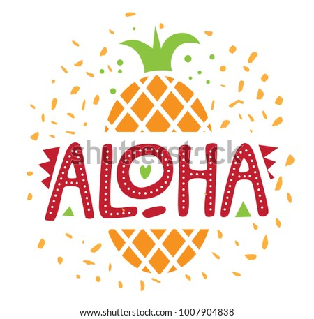 Lettering aloha hawaiian greeting pineapple background stock vector lettering aloha hawaiian greeting pineapple in the background ideal for web banner m4hsunfo