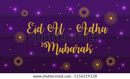 lettering font Special Eid Al Adha Mubarak with purple backgroun eps 10 Creative design