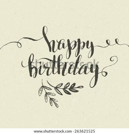 Lettering Happy Birthday Handdrawn Card Vector Stock