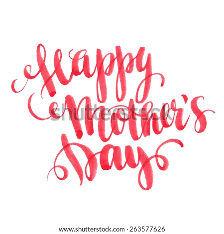 Lettering Happy Mothers Day. Hand-drawn card. Vector illustration - stock vector