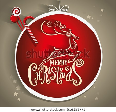 "Lettering ""Merry Christmas."" Composition with reindeer. Twisted Individual font. Hand drawing. . Gold and red. Christmas decorations"