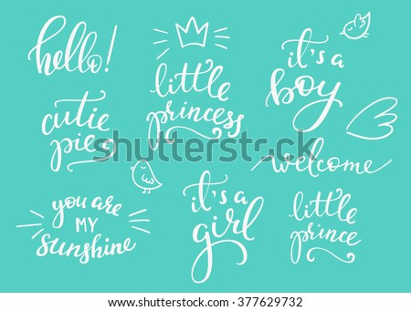 Lettering photography family overlay set. Motivational quote. Sweet cute inspiration typography. Calligraphy postcard poster photo graphic design element. Hand written sign. Baby photo album element - stock vector
