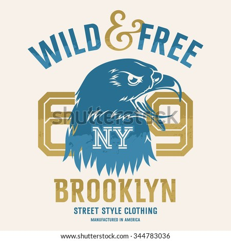 "Lettering ""Wild and Free"" and American eagle head. This illustration can be used as a print on T-shirts and other clothes"