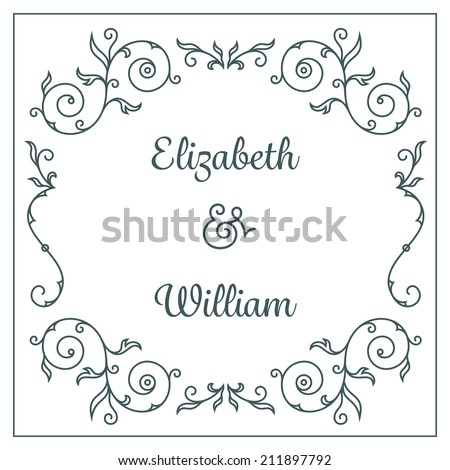 Letterpress wedding invitation card template with floral ornaments and custom ampersand. Vector illustration - stock vector