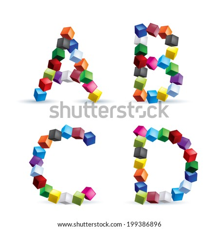 Letters A, B, C and D made of colored blocks. - stock vector