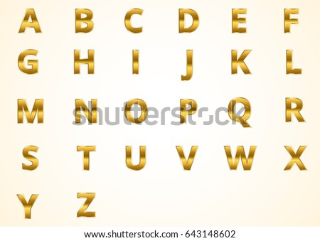 Letters A To Z Color Gold Modern Style