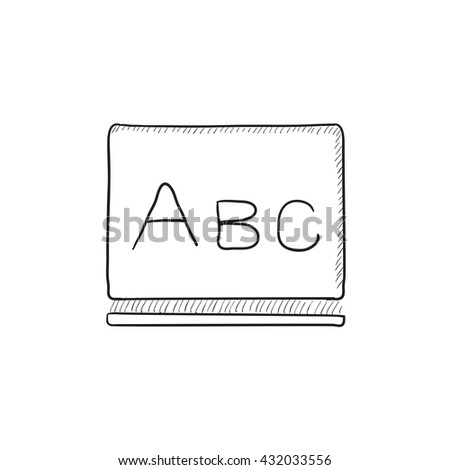 Letters abc on blackboard vector sketch icon isolated on background. Hand drawn Letters abc on blackboard icon. Letters abc on blackboard sketch icon for infographic, website or app. - stock vector