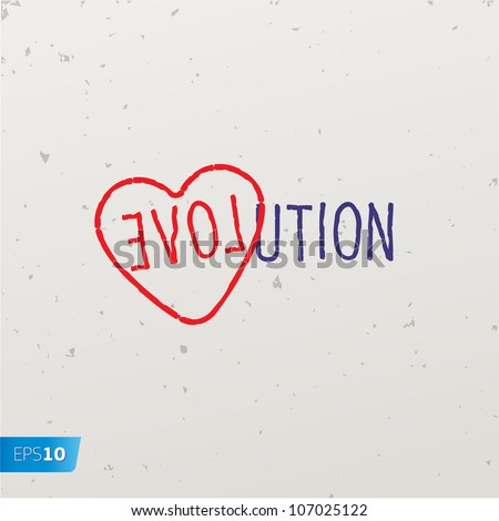 Letters forming a word game with the word Evolution, vector Eps10 image.