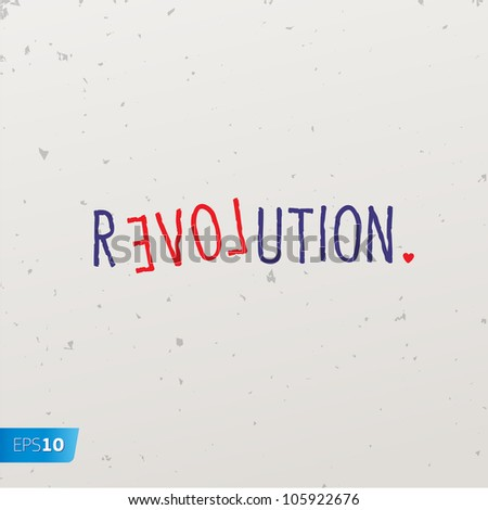 Letters forming a word game with the word revolution, vector Eps10 image.