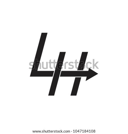 letters 4 h lh arrow logo vector stock vector royalty free