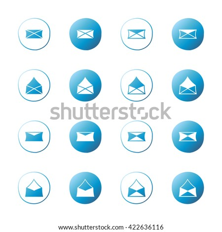 Letters, messages, envelopes icons. Web blue gradient elements set. Hand-drawn round buttons. Isolated. Vector illustration. For e-mail. - stock vector
