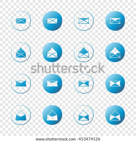 Letters, messages, envelopes icons. Web blue gradient elements set. Hand-drawn round buttons. Isolated on transparent background. Vector illustration. For e-mail. - stock vector