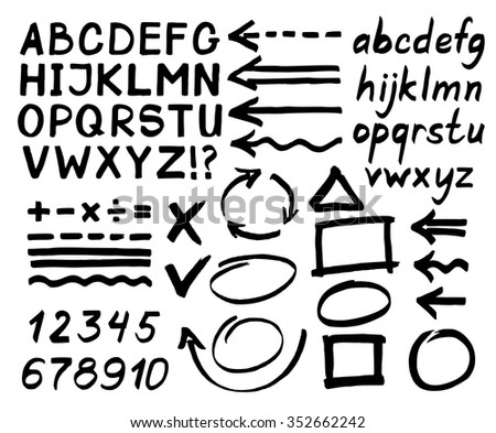 Letters, numbers, arrows, mathematical symbols, lines, written in black marker. Vector. - stock vector
