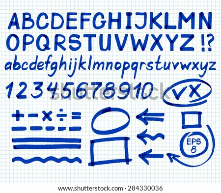 Letters, numbers, arrows, mathematical symbols, lines, written in blue marker. Vector.
