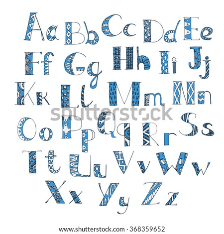 letters of latin alphabet. hand drawn doodle font