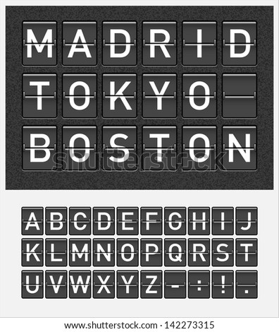 letters on airport style mechanical timetable display