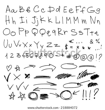 Letters written by pen, made by hands, vector characters. Arrows, pointers, doodle. Easy to use and edit letters. English - stock vector