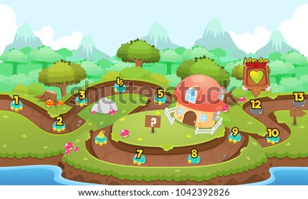 Level map pack with calm village theme for puzzle games