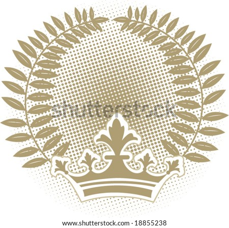 leves halftone and crown - stock vector