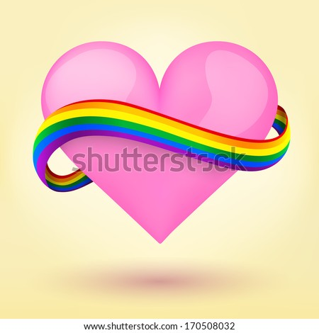 LGBT Background pink heart and rainbow ribbon. Vector illustration. Love, gay, lesbian and sexual minorities. Editable and isolated. - stock vector