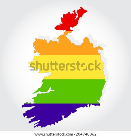 Lgbt flag in contour of Ireland with light grey background. Rainbow flag in contour of Ireland - stock vector