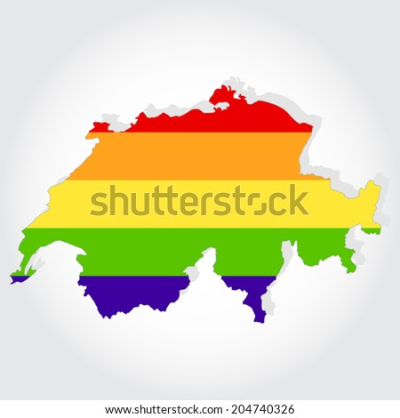 Lgbt flag in contour of Switzerland with light grey background. Rainbow flag in contour of Switzerland - stock vector