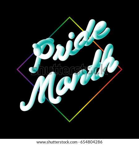 ual Equality Stock Royalty Free #1: stock vector lgbt pride month typographic sign on black in modern d script neon font style with rainbow diamond