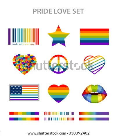 LGBT symbols set in rainbow colors: pride, freedom flags, hearts, peace, star and lips - stock vector