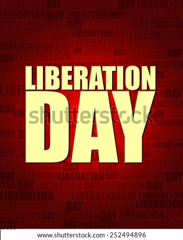 Liberation Day with same text on red gradient background.