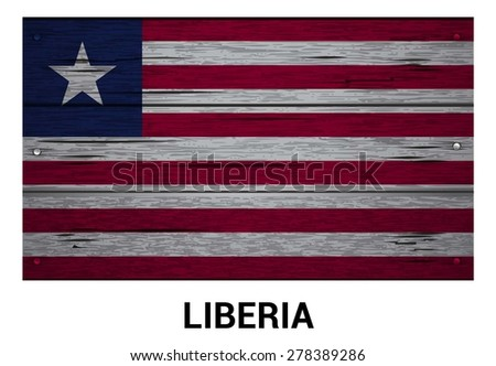 Liberia flag on wood texture background - vector illustration